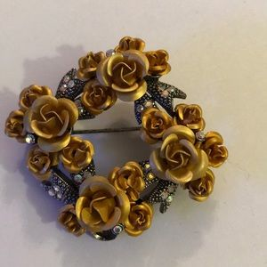 Vintage AB rhinestone gold flower brooch
